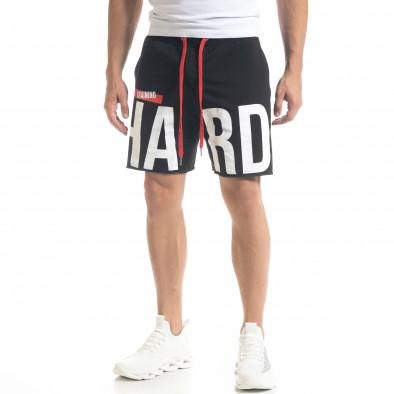 Мъжки черни тренинг шорти HARD tr240420-22 2