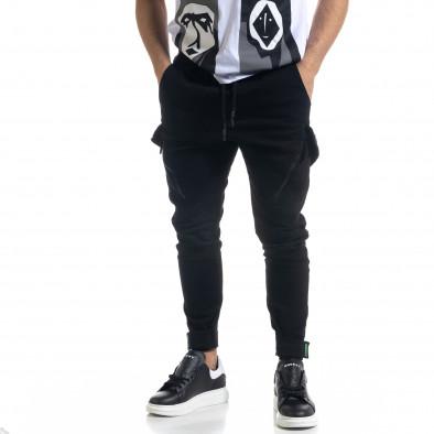 Мъжки черен панталон със затягащи маншети tr110320-128 2
