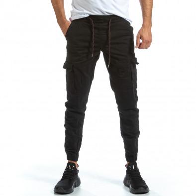 Черен Cargo Jogger панталон с ластик на кръста tr070921-16 2