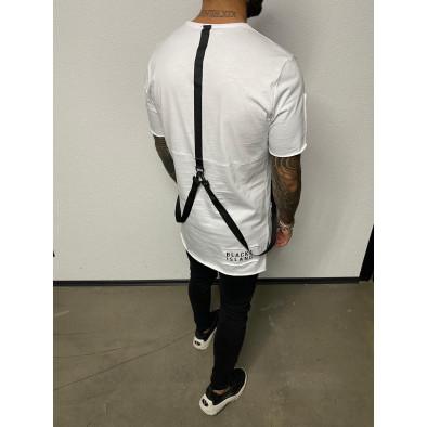 Удължена бяла тениска с акценти tr110320-83 3