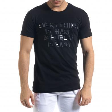 Мъжка черна тениска с принт tr110320-71 2