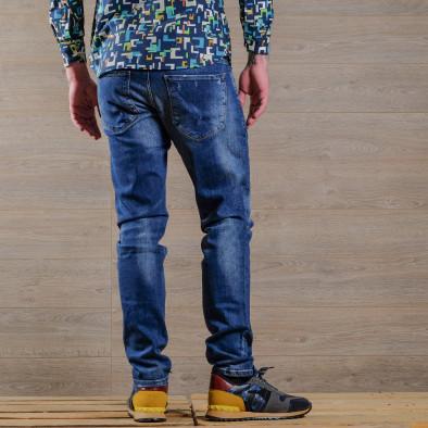 Slim fit мъжки изтъркани дънки в синьо tr030420-4 4