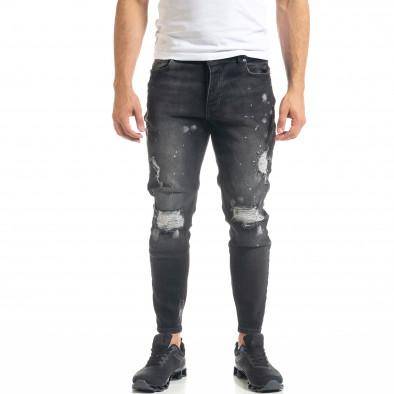 Slim fit мъжки черни дънки Destroyed с кръпки  tr050620-2 2