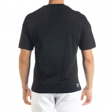 Черна мъжка тениска с йероглифи tr080520-9 3