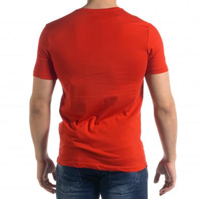 Мъжка червена тениска с принт tr110320-52 3