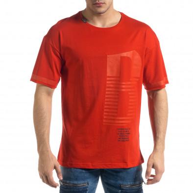Червена мъжка тениска с принт tr110320-37 2