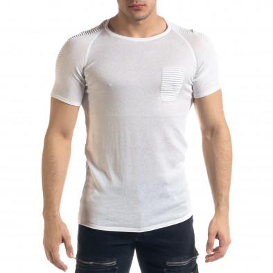 Slim fit бяла мъжка плетена блуза Biker tr110320-20 2