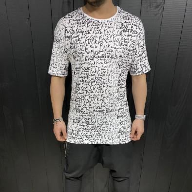 Мъжка бяла тениска с принт tr110320-88 2