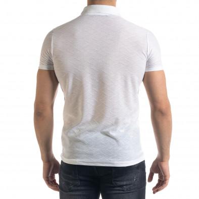 Slim fit бяла мъжка тениска с яка и цип tr110320-21 3
