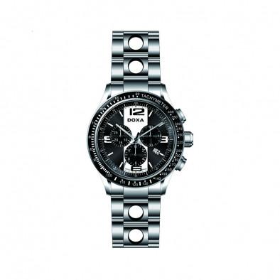 Мъжки часовник DOXA Trofeo сребрист браслет с черен циферблат
