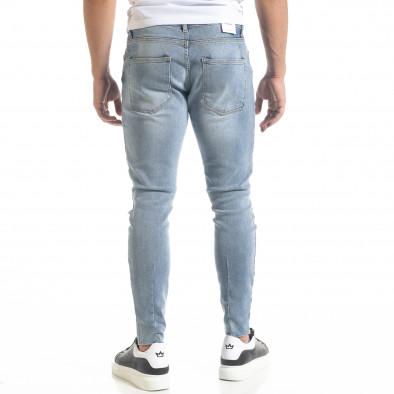 Мъжки сини дънки Skinny fit с прокъсвания tr240420-24 3