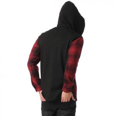 Мъжки кариран суичър-риза с качулка tr131120-7 4