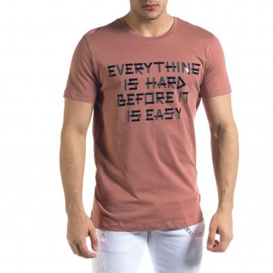 Мъжка розова тениска с принт tr110320-70 2