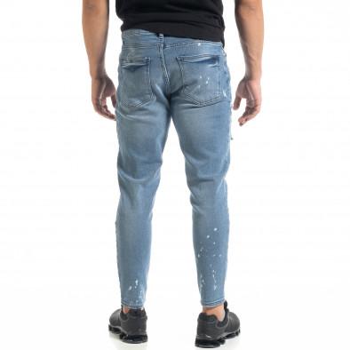 Slim fit мъжки сини дънки Destroyed с кръпки  tr050620-5 3
