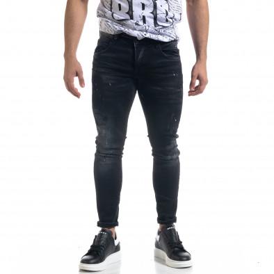 Мъжки черни дънки Slim fit с пръски боя tr110320-108 2