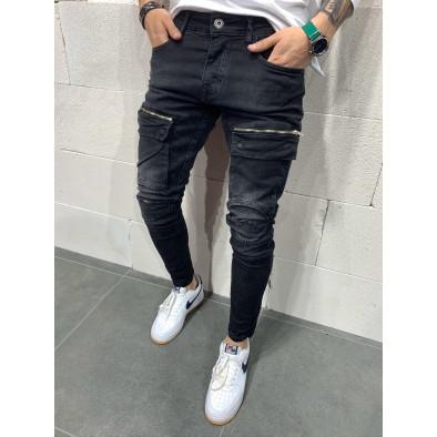 Destroyed Slim fit мъжки черни дънки с джобове tr110320-117 2