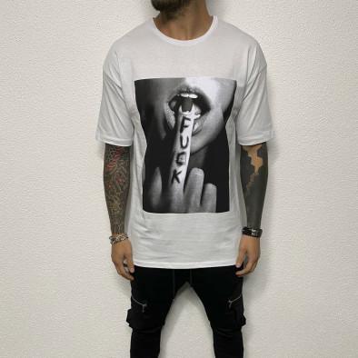 Бяла мъжка тениска с принт tr110320-81 3