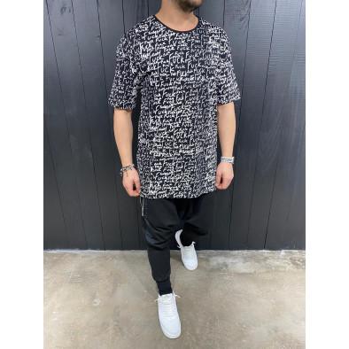 Мъжка черна тениска с принт tr110320-87 3