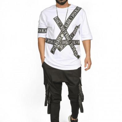 Мъжка бяла тениска с удължени ръкави tr110320-65 2
