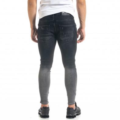 Skinny fit мъжки черни дънки Biker Destroyed tr050620-1 4