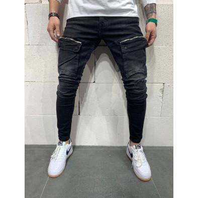 Destroyed Slim fit мъжки черни дънки с джобове tr110320-117 3