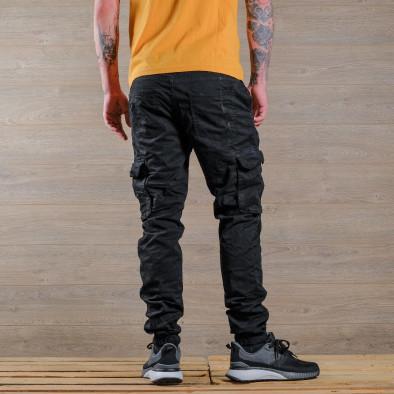 Мъжки черен карго панталон с връзки на кръста tr170320-5 4