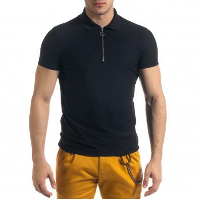 Slim fit черна мъжка тениска с яка и цип tr110320-22 2
