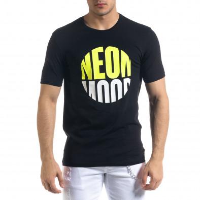 Черна мъжка тениска неонов принт tr110320-42 2