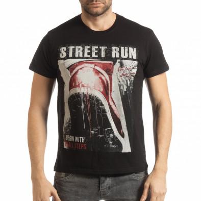 Черна мъжка тениска Street Run tsf190219-83 2