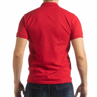 Мъжка тениска пике с акценти в червено tsf190219-92 3