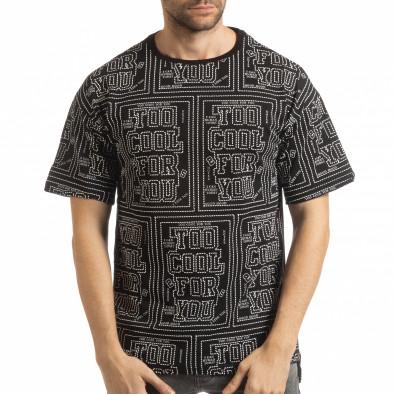 Мъжка черна тениска с удължен гръб tsf190219-26 2