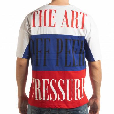 Мъжка тениска в бяло, синьо и червено tsf190219-28 3