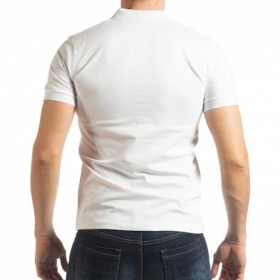 Мъжка тениска пике с акценти в бяло tsf190219-93 3