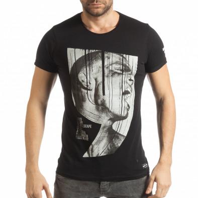 Мъжка черна тениска с образ tsf190219-2 2