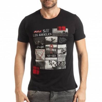 Мъжка тениска стил Patchwork в черно tsf190219-56 2