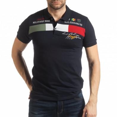 Мъжка тениска пике с акценти в тъмносиньо tsf190219-94 2