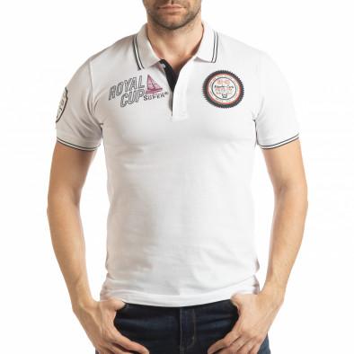 Мъжка тениска polo shirt Royal cup в бяло tsf190219-91 2