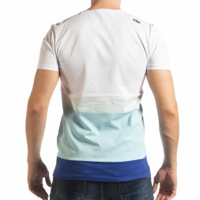 Синьо-бяла мъжка тениска tsf190219-39 3