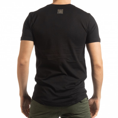 Мъжка черна тениска със сребрист принт tsf190219-14 3