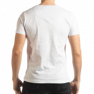 Мъжка тениска стил Patchwork в бяло tsf190219-57 3