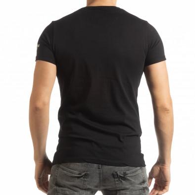 Мъжка черна тениска с образ tsf190219-2 3