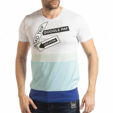 Синьо-бяла мъжка тениска tsf190219-39 2
