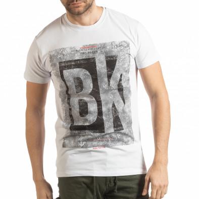 Бяла мъжка тениска BK tsf190219-73 2