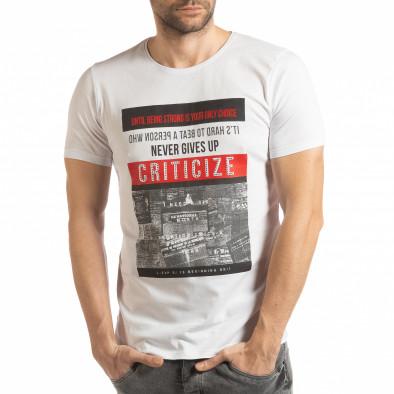 Бяла мъжка тениска Criticize tsf190219-63 2