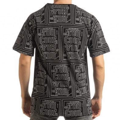 Мъжка черна тениска с удължен гръб tsf190219-26 3