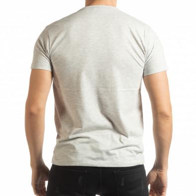 Мъжка рокерска тениска в сив меланж tsf190219-71 3