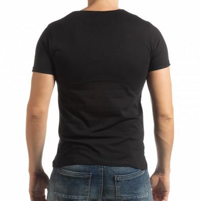Черна мъжка тениска с принт 1982 tsf190219-7 3