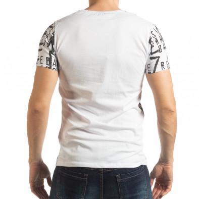 Бяла мъжка тениска с надписи tsf190219-12 3