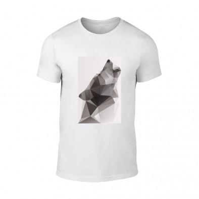Мъжка бяла тениска  с черно-бял принт Wolf TMN-M-197 2
