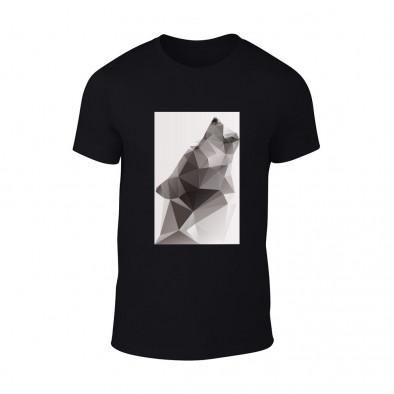 Мъжка черна тениска  с черно-бял принт Wolf TMN-M-198 2